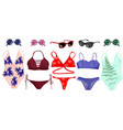 a set of swimsuits and accessories vector image