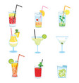 set of alcoholic cocktails collection of vector image