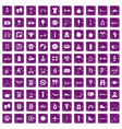 100 active life icons set grunge purple vector image vector image