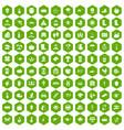 100 farm icons hexagon green vector image vector image