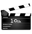 10th year clapperboard vector image vector image