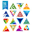 15 amazing triangle shape logos vector image vector image
