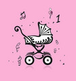 baby carriage ornate silhouette for your design vector image vector image