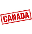 Canada red square grunge stamp on white vector image vector image