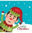 card elf happy snow design vector image vector image