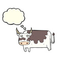 cartoon cow with thought bubble vector image