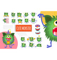cartoon cute green monster composition vector image vector image