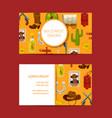 cartoon wild west business card design vector image vector image