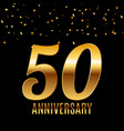 celebrating 50 anniversary emblem template design vector image vector image
