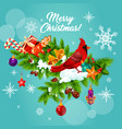 christmas winter holiday wish greeting card vector image