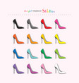 complete rainbow color stilettos high heels set vector image
