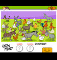counting donkeys and chickens educational game vector image vector image