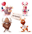 cow bull deer - cute characters vector image