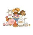 cute cartoon farmer and animals country man
