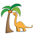 Dinosaur and tree vector image vector image