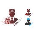 dissolving pixel halftone doctor icon vector image vector image