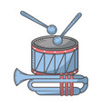 drum sticks and trumpet vector image