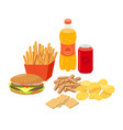fast food junk food set in flat design vector image vector image