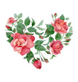 floral abstract heart roses vector image
