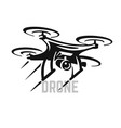 flying drone emblem with text on white background vector image