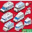Food Truck Set04 Vehicle Isometric vector image vector image