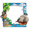 frame with sea and pirate theme 2 vector image vector image