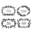 funeral mourning frames with roses and lily flower vector image