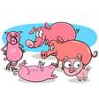 funny pigs farm animal cartoon characters vector image vector image