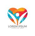 happy human heart shape logo design vector image vector image
