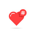 hashtag logo like red heart vector image vector image