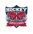 hockey team logo design template sport club badge vector image