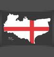 kent map england uk with english national flag vector image vector image