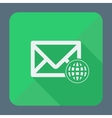 Mail icon envelope with globe Flat design vector image vector image
