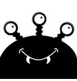 monster head silhouette with three eyes fang vector image vector image