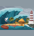 natural strong disaster with rain and tsunami vector image vector image