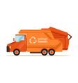 orange garbage collector truck waste recycling vector image vector image