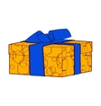 orange gift box present with bows and ribbons vector image vector image