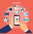rap music listening flat composition vector image vector image