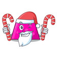 santa with candy trapezoid mascot cartoon style vector image vector image