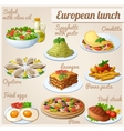 set food icons european lunch vector image vector image