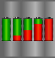 set of battery charge level indicators vector image