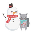 snowman and raccoon with scarf and candy cane vector image