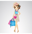Girl In Hat With Shopping Bags vector image