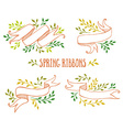 Set of color spring ribbons with leaves vector image