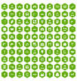 100 favorite work icons hexagon green vector image vector image