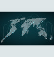 abstract world map with glowing radial dots vector image vector image