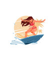 attractive young girl silhouette surfing on vector image