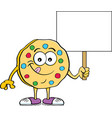 cartoon cookie holding a sign vector image vector image