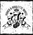 casino gambling emblem on grunge background vector image vector image
