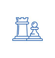 chess pieces rook and pawn line icon concept vector image vector image